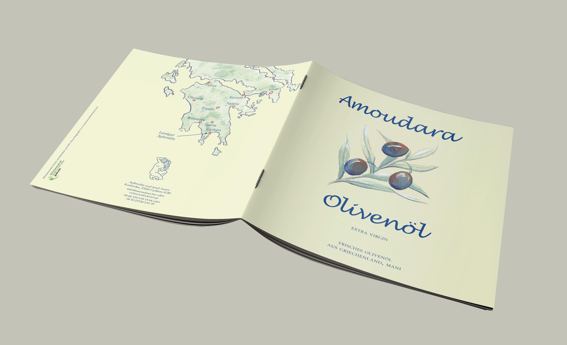 Prospekt für Amoudara Olivenöl